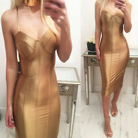 """""""Luxe"""" Gold Satin Look Bustier Bandage Push Up Midi Dress 6-12 New Celeb Style"""