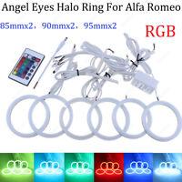 6x LED Cotton Multi-Color RGB Angel Eyes kit Halo ring Light For Alfa Romeo 159
