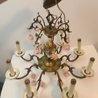 VTG Brass Applied Flowers Pink Roses Chandelier Hanging Swag 8 Lamp Light Italy