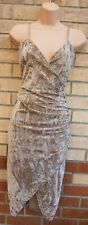IN THE STYLE BEIGE CHAMPAGNE CRUSHED VELVET WRAP BODYCON SEXY PARTY DRESS 12 M
