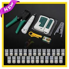Lan Network Cable Tester Crimper Punch Down Tool Stripper 8in1 Kit CAT6 RJ45 NWE