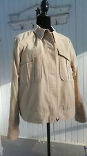 Sejour Nordstroms Plus Sz 16W Jacket Crop Utility Khaki Tan Oxford Cotton Zip H4