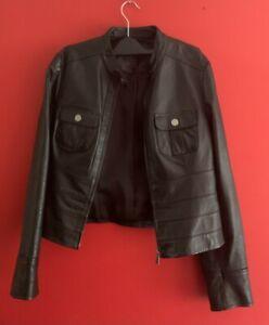 Womens Black NEXT Leather Jacket UK Size 12
