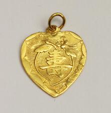 24K Solid Gold Longevity Flower Heart Pendant 1.8 Grams