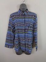 WOMENS VICTORIAS SECRET BLUE AZTEC PATTERN BUTTON UP LONG SLEEVE SHIRT XS XSMALL