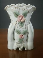 Vintage Japan Small Ceramic Vase Hands Holding