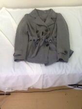 St671 Jou Jou Women's Gray Button-Down Business Wool Coat Large