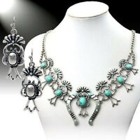 SQUASH BLOSSOM necklace set in turquoise and silver tone  18 inch adj.