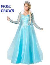 fiesta Frozen Elsa Disfraz Reina Hielo Adulto Vestido de las señoras Capa