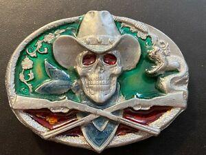 Vintage Gürtelschnalle Buckle Cowboy Skull, Western, Totenkopf