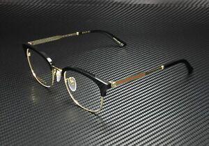 GUCCI GG0590OK 001 Square Black Shiny Gold Demo Lens 52 mm Men's Eyeglasses