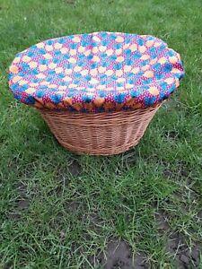 Pineapple orange and blue bike basket cover medium