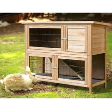 "52""Rabbit Hutch Outdoor Garden Backyard Wood Hen House Chicken Coop Animal Cage"