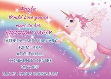 PERSONALISED UNICORN THEME INVITES CHILDRENS PINK BIRTHDAY PARTY INVITATIONS X 8