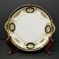 Vintage NORITAKE Hand Painted 7 1/2''  Plate With Gold Trimmed Handles Pink Rose