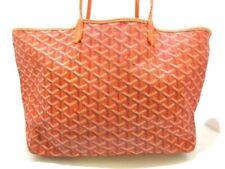 Auth GOYARD Saint Louis PM Orange Black Multi Coated Canvas Leather Tote Bag