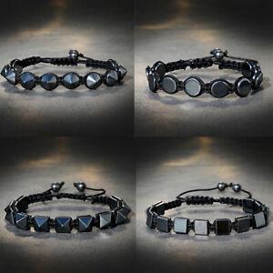 Unisex Magnetic Hematite Beads Adjustable Bracelet Bangle Lose Weight Jewelry