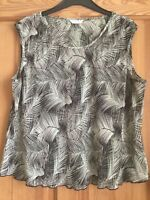 M&S Per Una Ladies Brown Green Animal Print Crinkle Chiffon Blouse Top Size 12