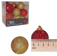 ROUGE ET OR Paquet de 20 Sapin de Noël 30mm boules - sequin & pailleté
