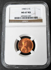 1945-S LINCOLN WHEAT EARS CENT NGC MS 67 RED-007