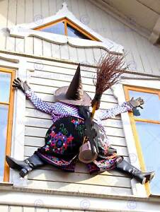 WITCH HALLOWEEN HOUSE CRASH WINDOW PHOTO ART PRINT POSTER PICTURE BMP1665B