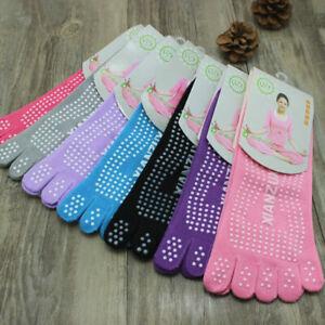 Non Slip Women Yoga Socks Pilates 5 finger Toeless foot Grip Exercise barre Skid