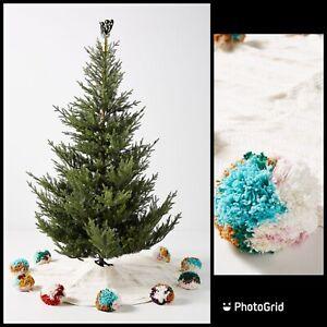 """Anthropologie Jubilant Christmas Tree Skirt 60"""" Pom Multicolor Folk HUGE $278"""