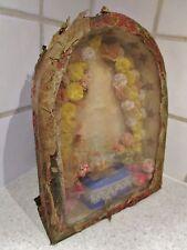 ancien reliquaire-autel-fleurs-carton -art populaire-auvergne- antique reliquary