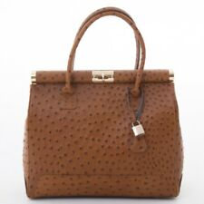Gladstone Bag Tan  by Amilu Stamped with an OSTRICH Leather Effect Print