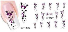 ROSA Farfalla 3D Nail Art Adesivo Decalcomania Decorazione Manicure trasferimento di acqua