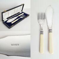Vintage Cutlery Silver Plate EPNS Fish Servers Faux Bone Ivorine Handles & Case