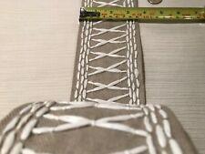 Schumacher Tikki Tape Linen Textile + Raffia Embroidery Passementerie Trim Bty