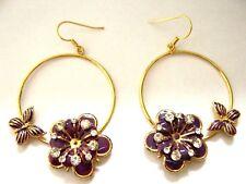 gold tone purple diamante sparkle flower butterfly dangle hoop gypsy earrings