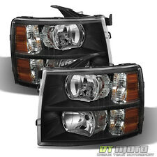 Black 2007-2013 Chevy Silverado 1500 2500 3500 Headlights Headlamps Left+Right