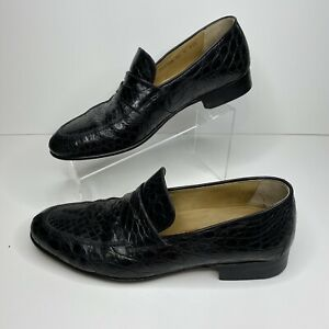 COLE HAAN Black Genuine Crocodile Alligator Loafers Shoes Mens 11D Made in Italy