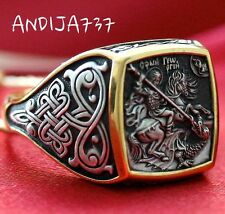Saint George Warrior & Dragon Russian Orthodox Prayer Ring Silver 925+.999 Gold
