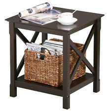 2 Tiers Wood End Table Storage Display End Table Espresso