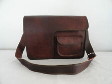 "Vintage Leather Messenger Bag 15"" Laptop Satchel School Business Shoulder Bag"