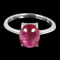 Oval Red Ruby 10x8mm 14K White Gold Plate 925 Sterling Silver Ring Size 7.5