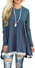 Wekili Women's Tops Long Sleeve Lace Scoop Neck A-line Tunic Blouse Blue Large