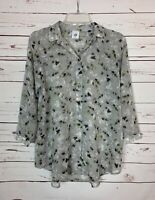 CAbi Women's XS Extra Small Gray FloralCute Matinee Spring Top Blouse Shirt