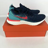 Nike Epic React Flyknit Running Shoes Hyper Jade Men's Size 11 Navy AR5413 400