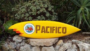 "Pacifico Wood Surfboard Beer Tiki Bar Sign w/ shark bite Pub Man Cave 39"""