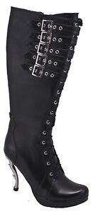 Inamagura Metall Dornabsatz Stiefel Schwarz 24HSB115 5 Belts Black
