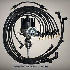 CHRYSLER 440 1973-1978 BLACK Small Female Cap HEI Distributor + Spark Plug Wires