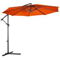 10' Ft Hanging Umbrella Patio Sun Shade Offset Outdoor Market Cross Base Orange