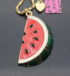 B004   Betsey Johnson Crystal Enamel Watermelon Pendant Necklace