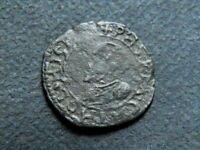 FRANCHE-COMTE BOURGOGNE PHILIPPE II D'ESPAGNE 1555-1598 DOUBLE DENIER 1593 DOLE.