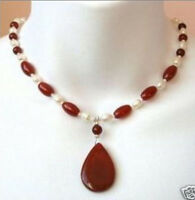 """Stunning Rare 7-8mm white pearl red ruby pendant necklace 18"""""""