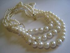 "3-Strand Necklace With Graduated Faux Pearl Beads, Unmarked, 25"" AS IS"